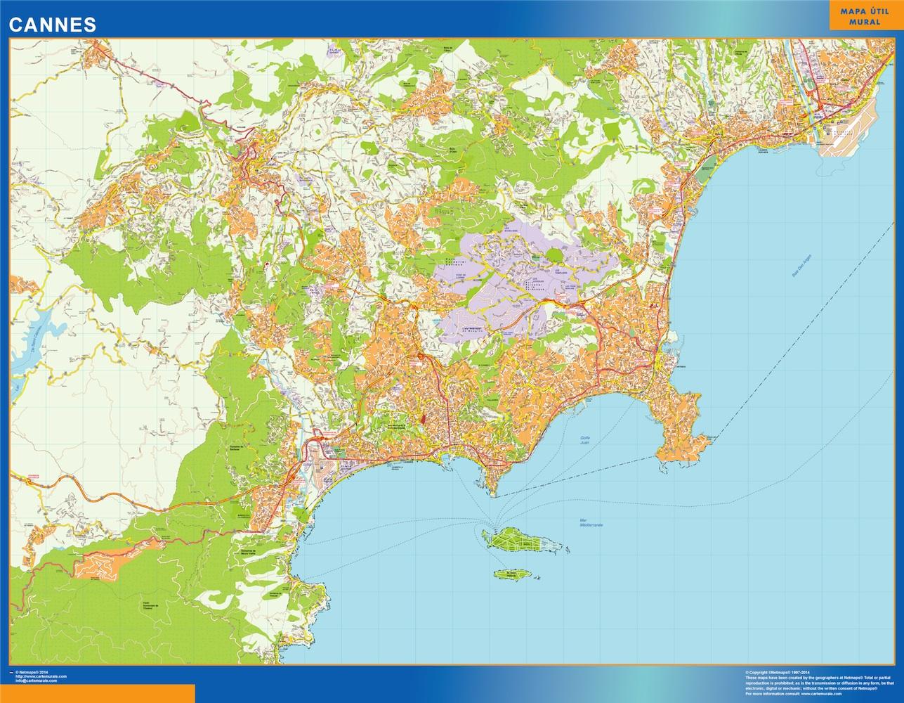 Mapa Cannes en Francia plastificado gigante
