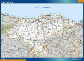 Mapa Cantabria carreteras plastificado gigante