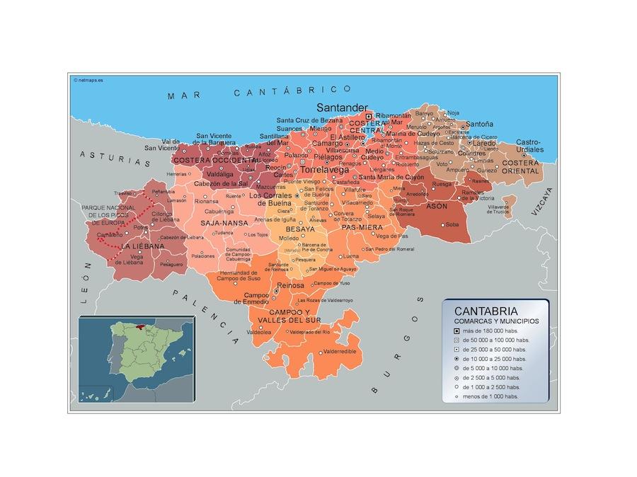 Mapa Cantabria por municipios plastificado gigante