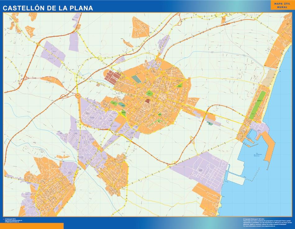 Mapa Castellon de la Plana callejero plastificado gigante