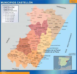Mapa Castellon por municipios plastificado gigante