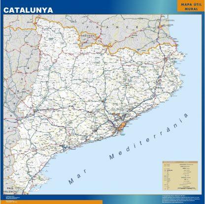 Mapa Cataluña carreteras plastificado gigante