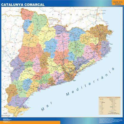 Mapa Cataluña comarcal plastificado gigante