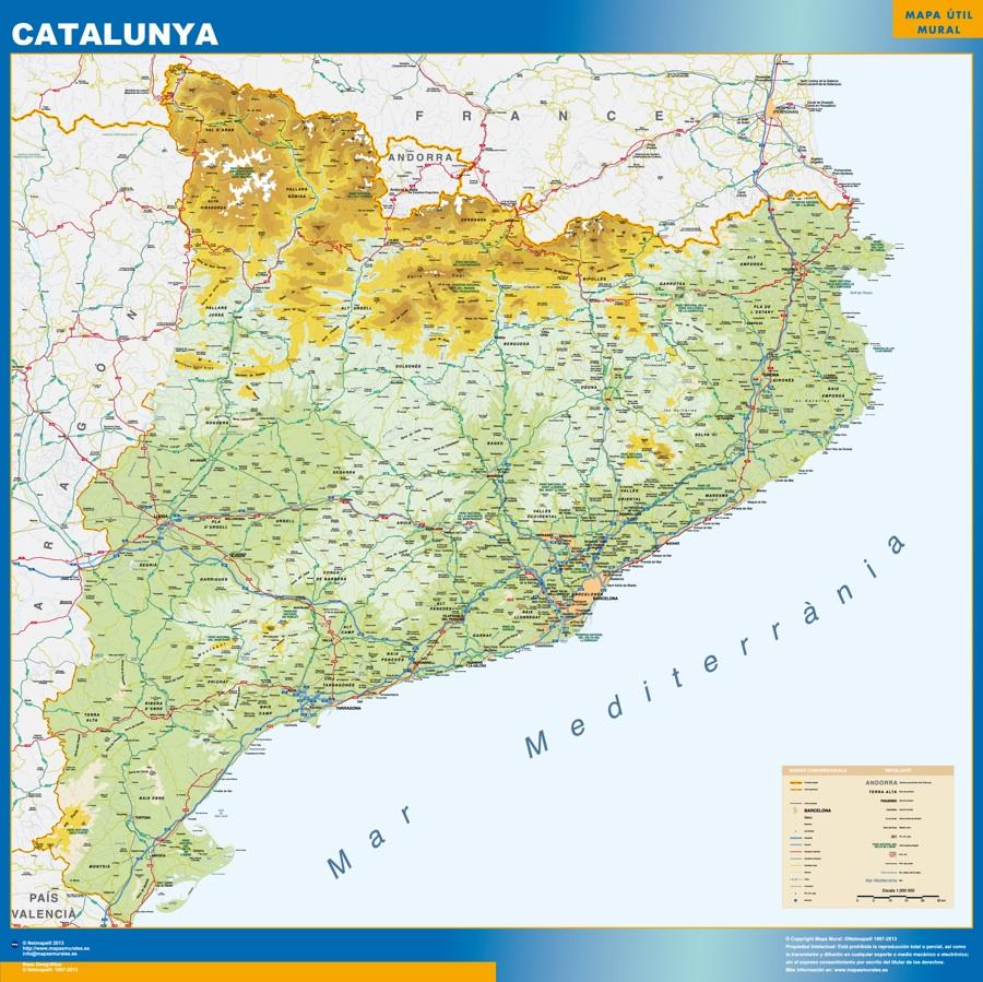 Mapa Cataluña físico plastificado gigante