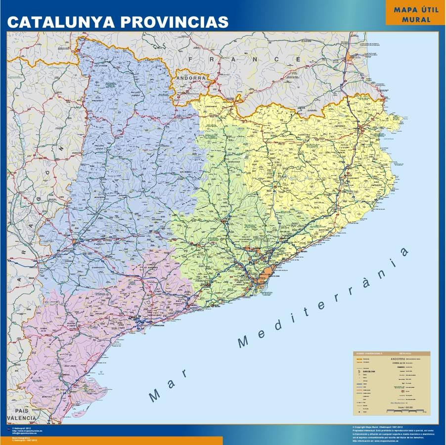 Mapa Cataluña provincias plastificado gigante