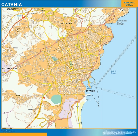 Mapa Catania plastificado gigante
