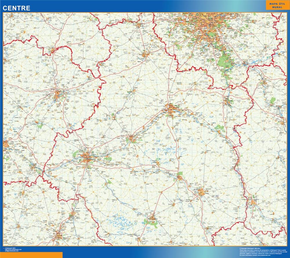 Mapa Centre en Francia plastificado gigante