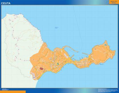 Mapa Ceuta callejero plastificado gigante