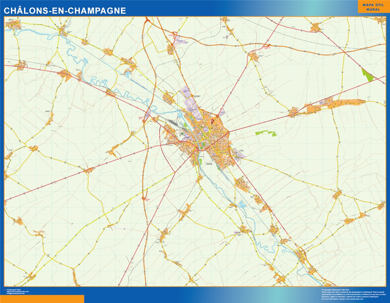 Mapa Chalons En Champagne en Francia plastificado gigante