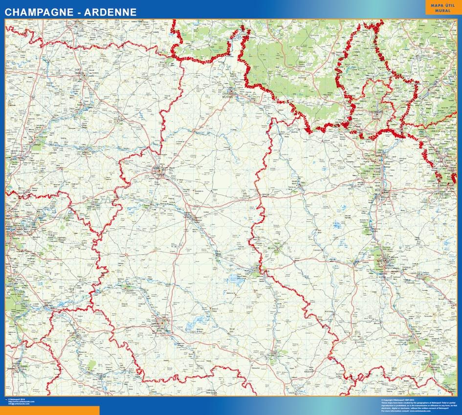 Mapa Champagne Ardenne en Francia plastificado gigante