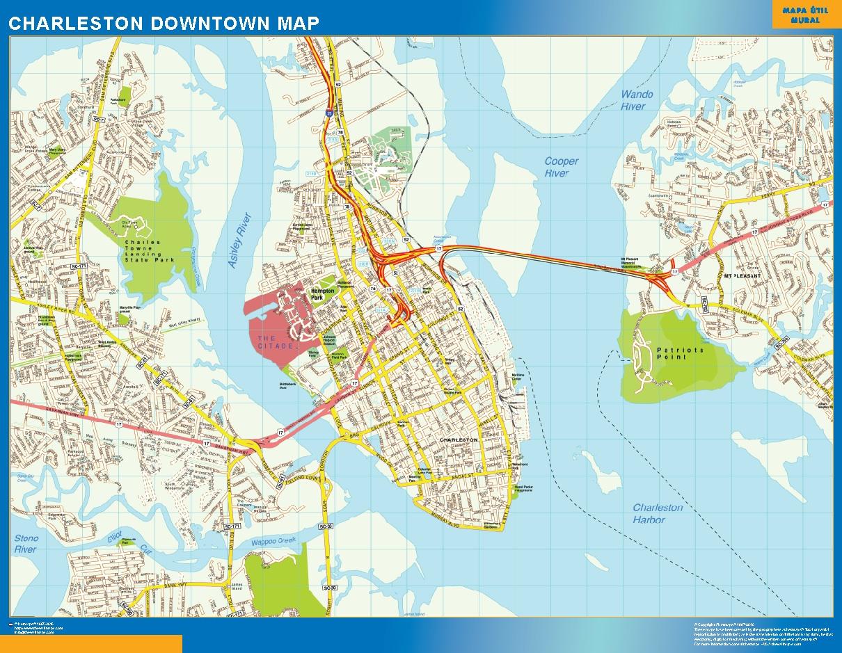 Mapa Charleston downtown plastificado gigante