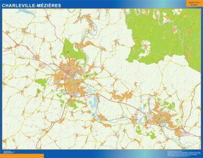 Mapa Charleville Mezieres en Francia plastificado gigante