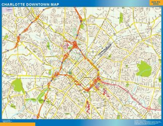 Mapa Charlotte downtown plastificado gigante