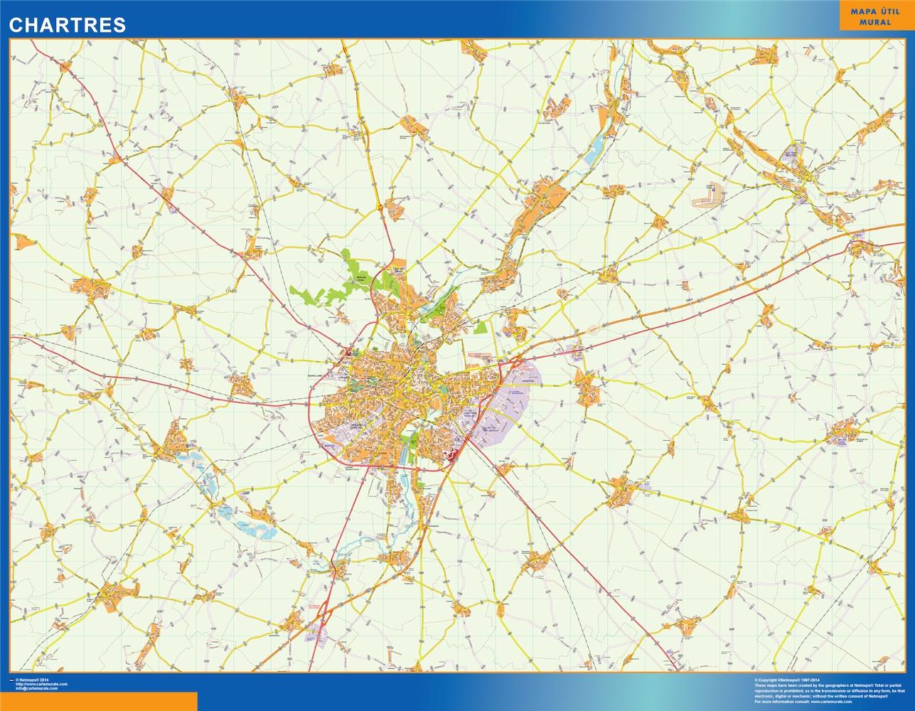 Mapa Chartres en Francia plastificado gigante