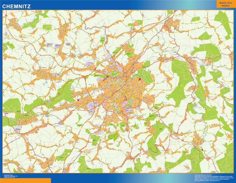 Mapa Chemnitz en Alemania plastificado gigante