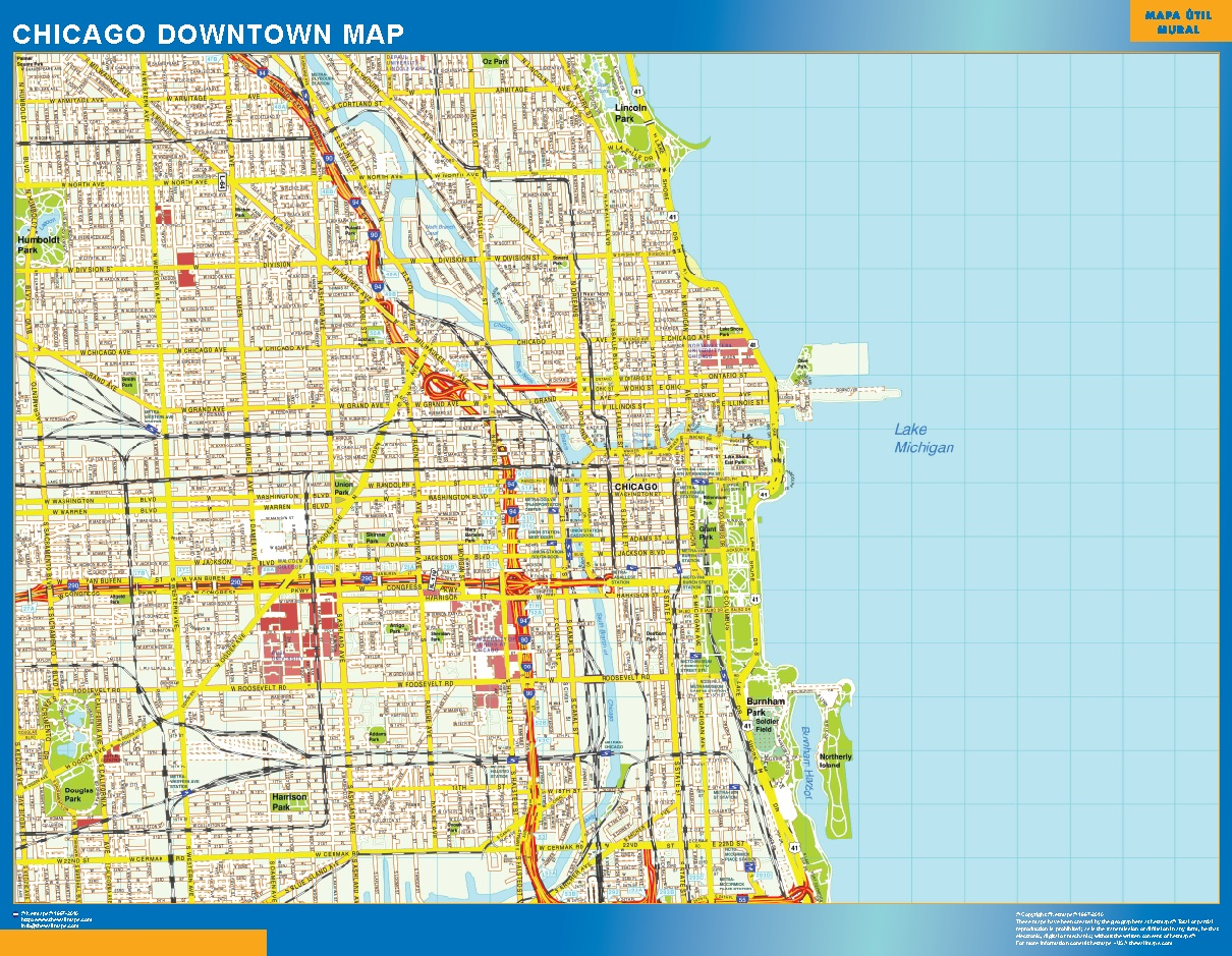 Mapa Chicago downtown plastificado gigante