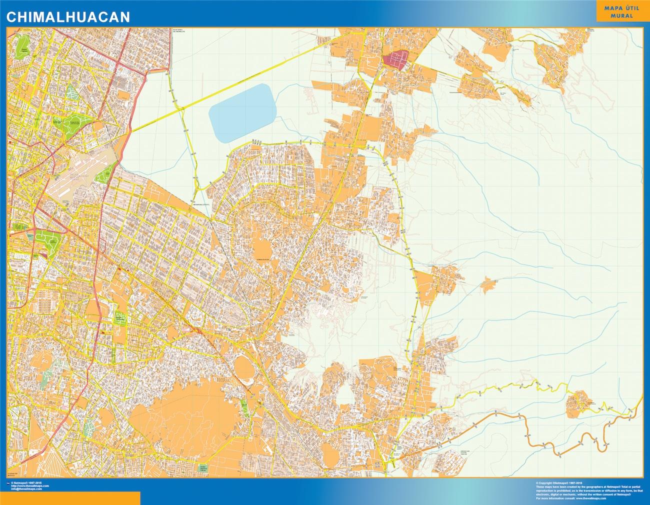 Mapa Chimalhuacan en Mexico plastificado gigante