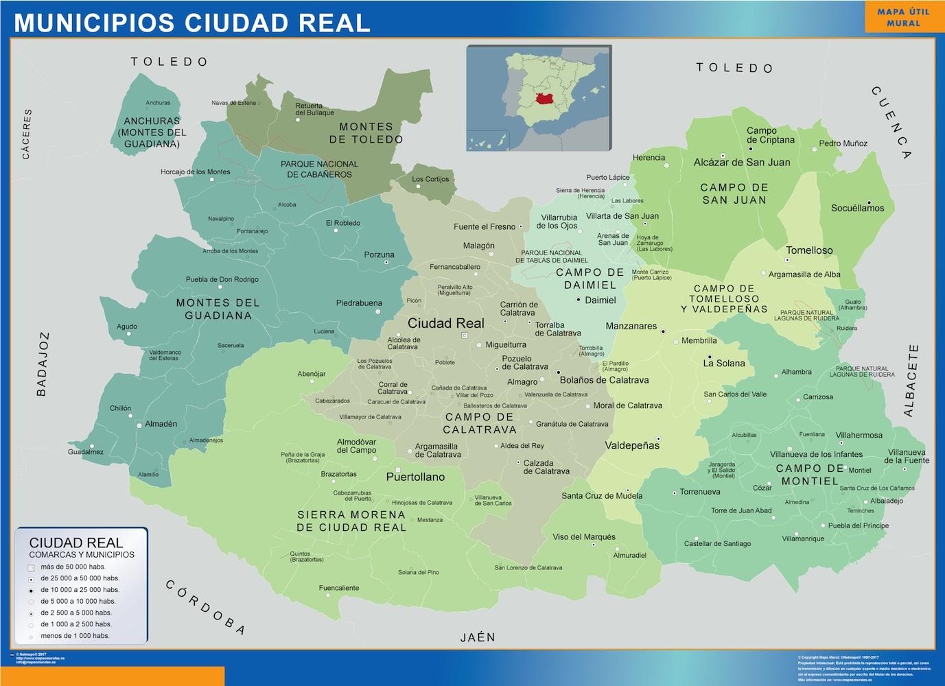 Mapa Ciudad Real por municipios plastificado gigante