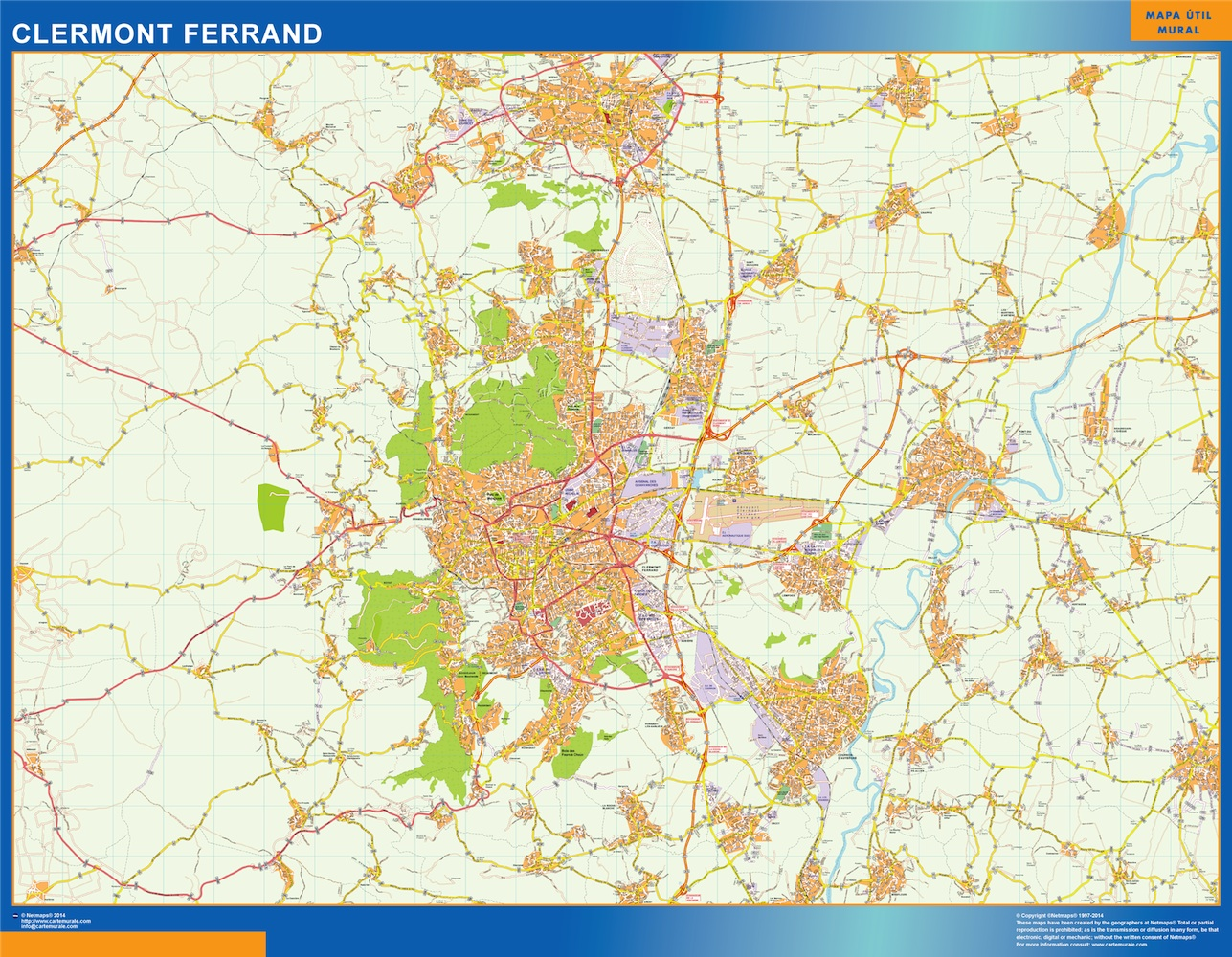 Mapa Clermont Ferrand en Francia plastificado gigante