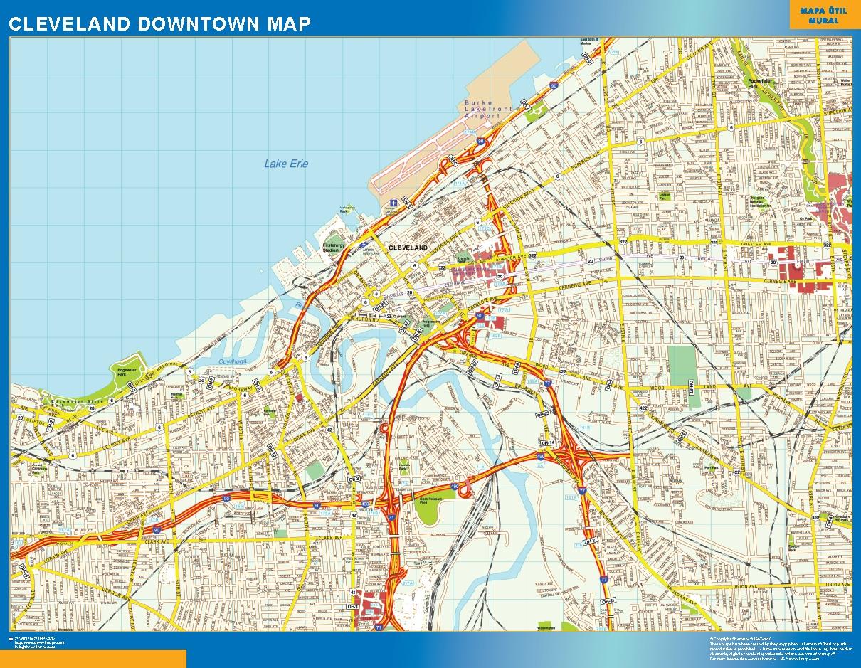 Mapa Cleveland downtown plastificado gigante
