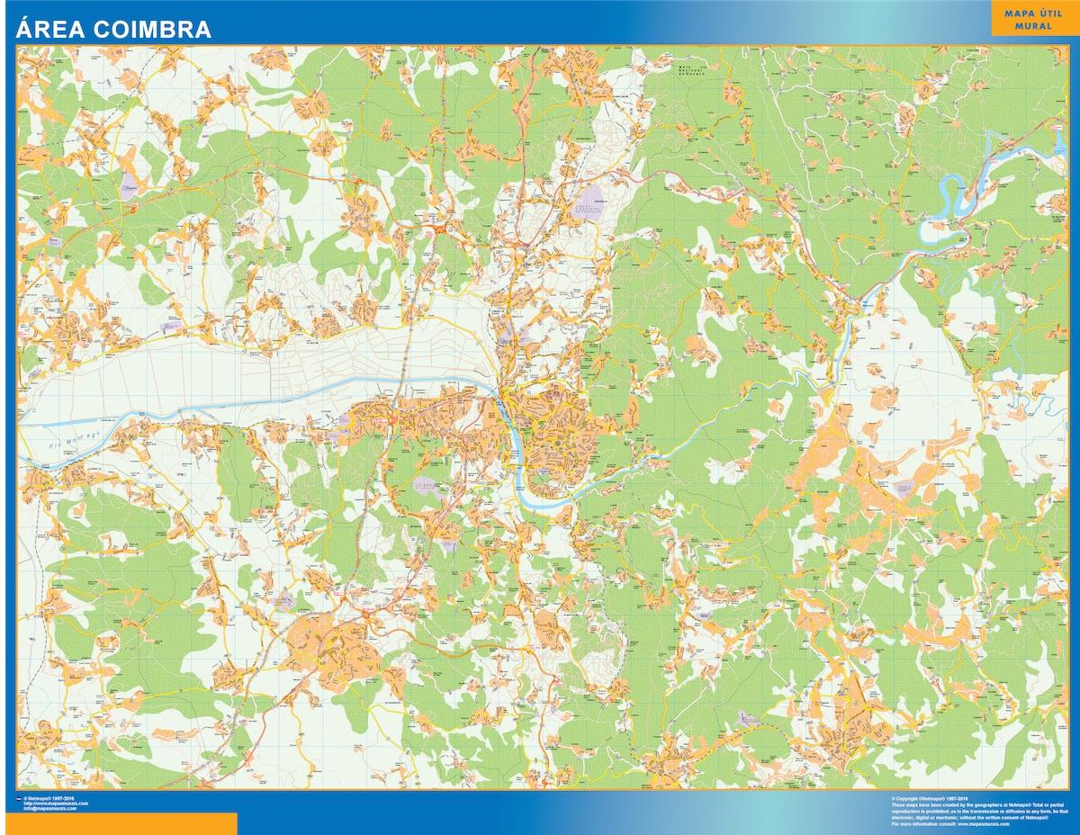 Mapa Coimbra área urbana plastificado gigante