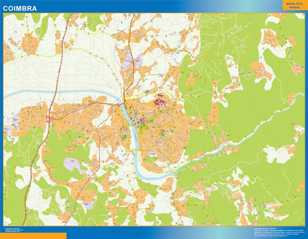 Mapa Coimbra en Portugal plastificado gigante