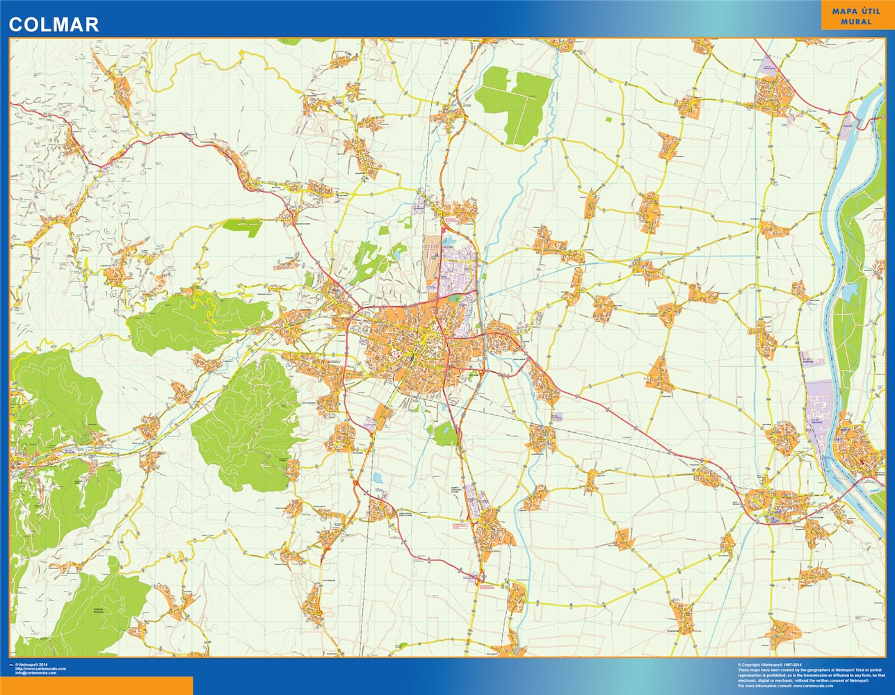 Mapa Colmar en Francia plastificado gigante