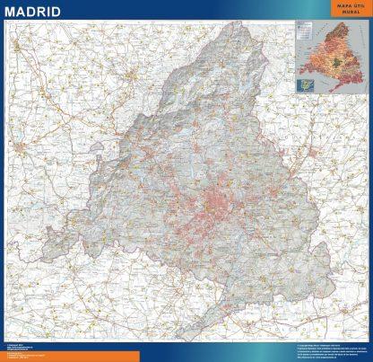 Mapa Comunidad Madrid físico plastificado gigante