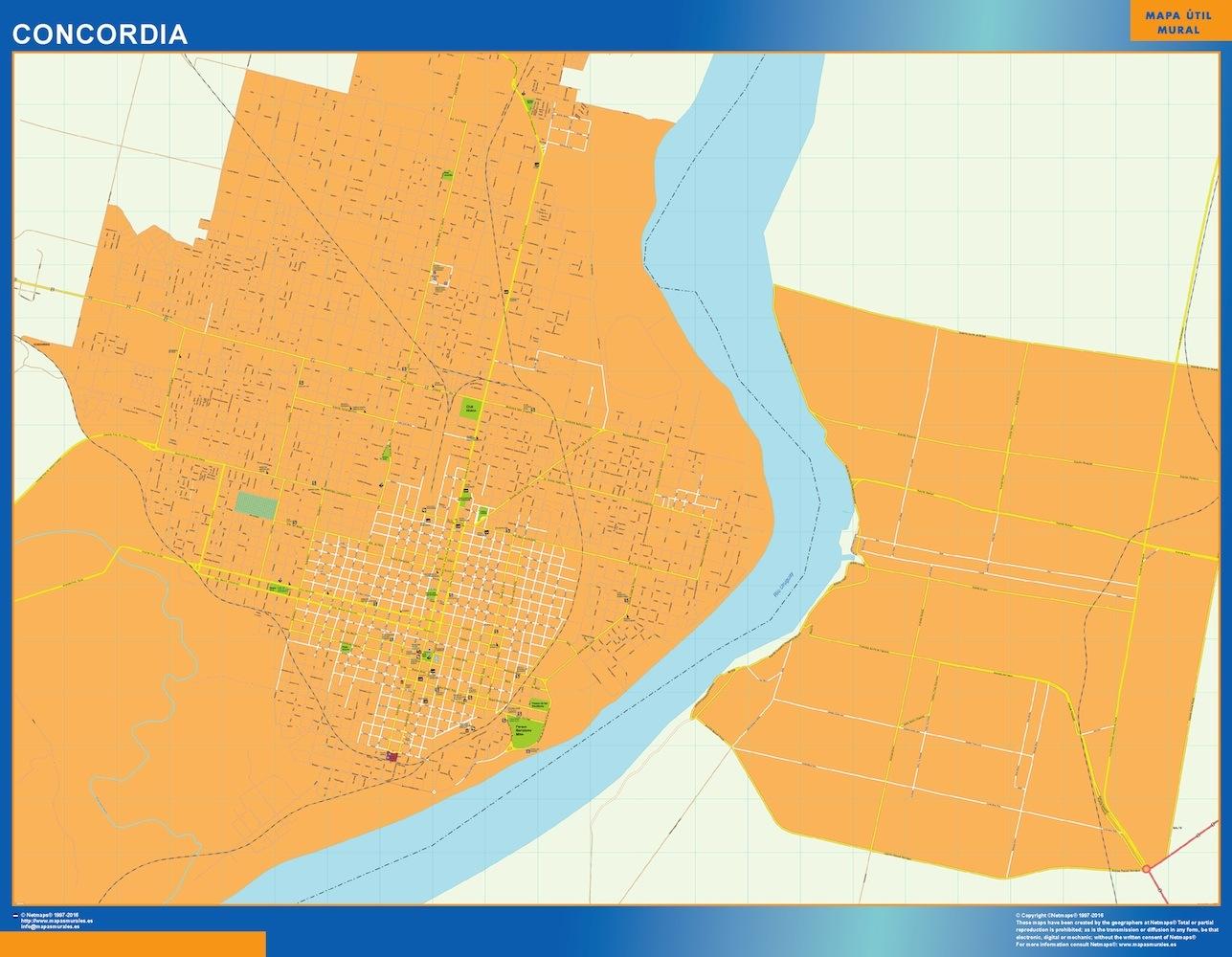 Mapa Concordia en Argentina plastificado gigante