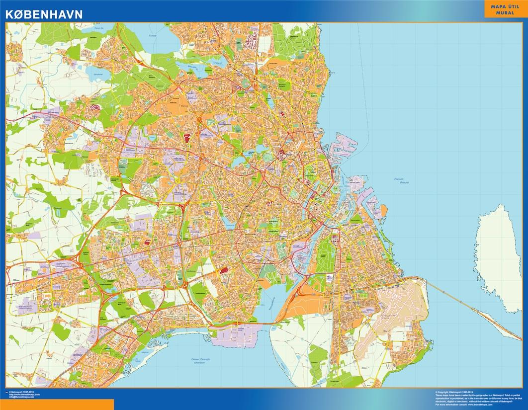 Mapa Copenhague en Dinamarca plastificado gigante