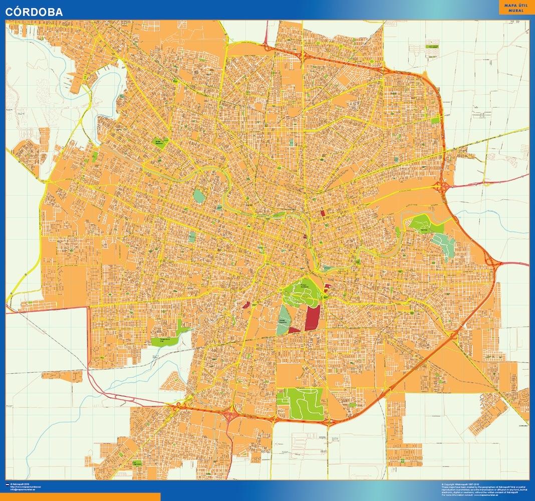 Mapa Cordoba en Argentina plastificado gigante