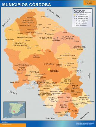 Mapa Cordoba por municipios plastificado gigante