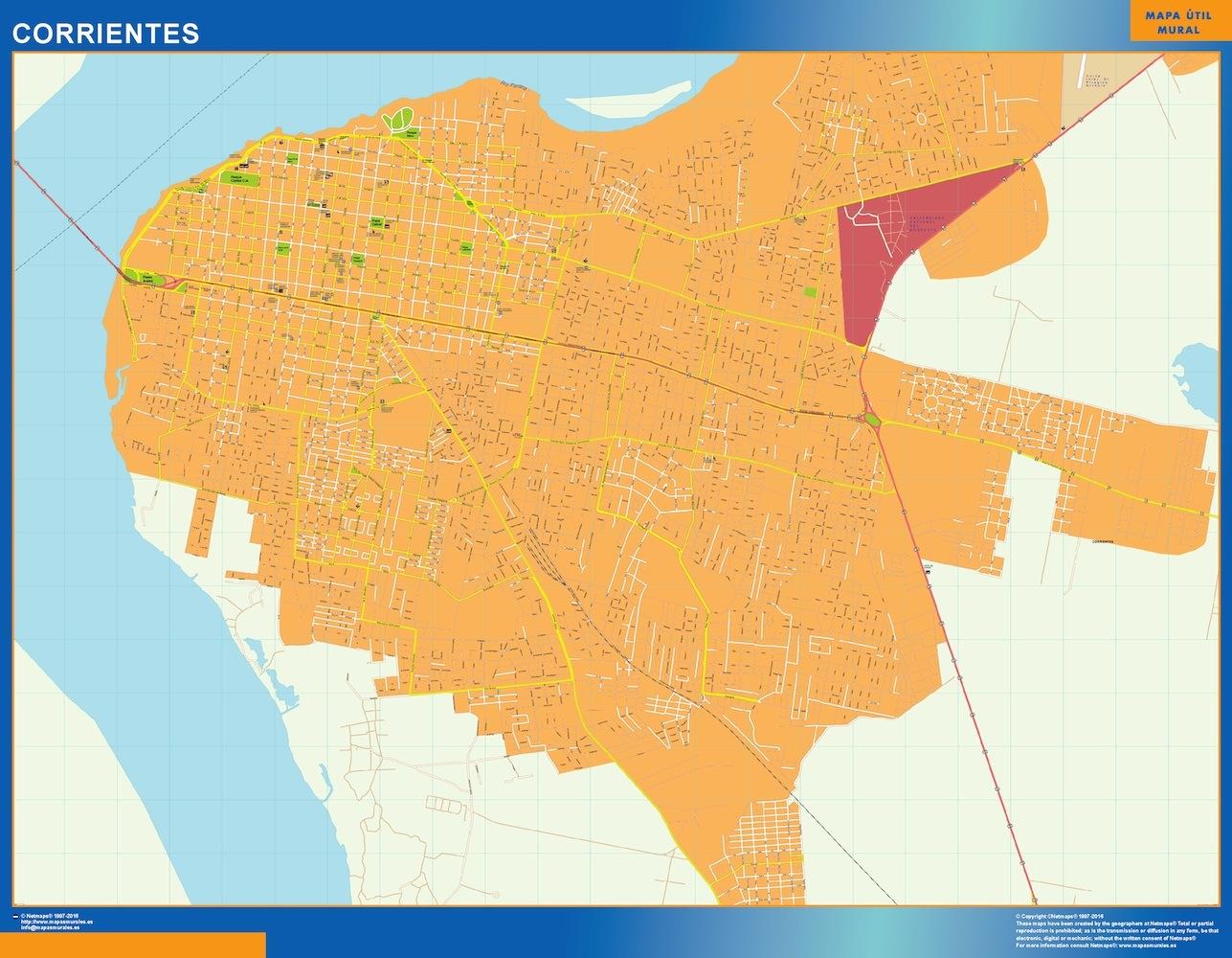 Mapa Corrientes en Argentina plastificado gigante