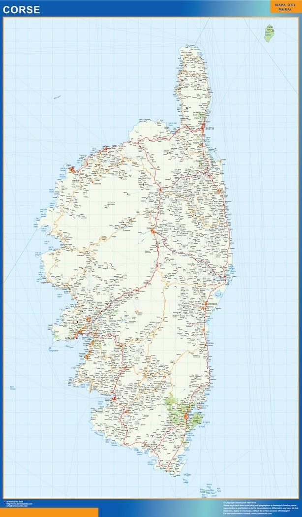 Mapa Corse en Francia plastificado gigante