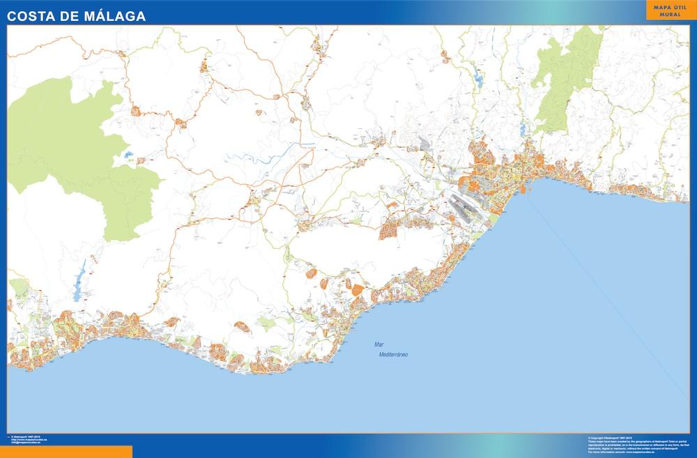 Mapa Costa Malaga plastificado gigante