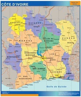 Mapa Costa Marfil plastificado gigante