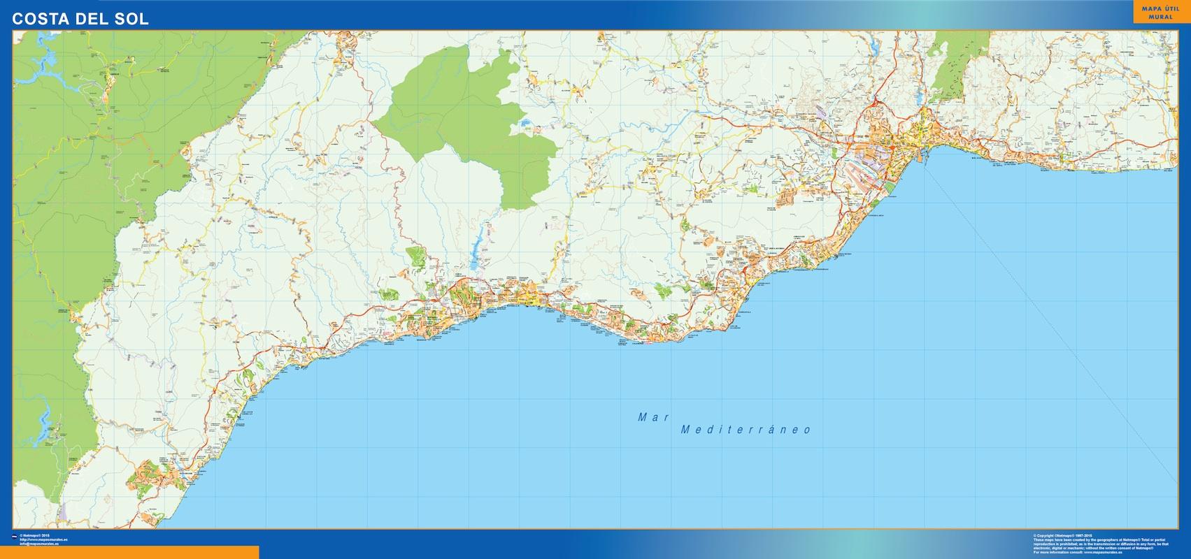 Mapa Costa Sol plastificado gigante