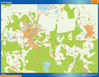 Mapa Cottbus en Alemania plastificado gigante