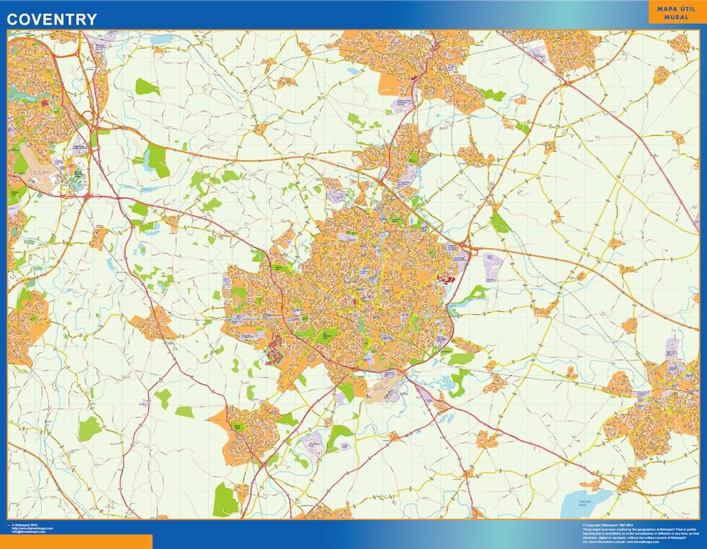 Mapa Coventry plastificado gigante