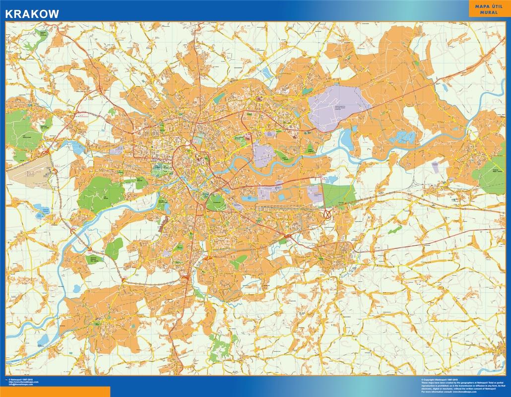 Mapa Cracovia Polonia plastificado gigante