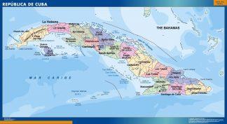 Mapa Cuba plastificado gigante