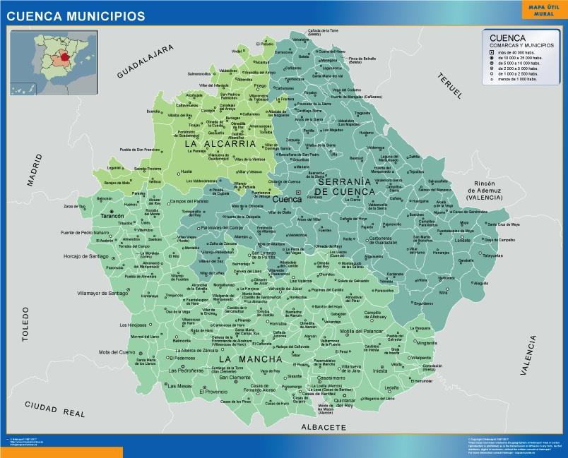 Mapa Cuenca por municipios plastificado gigante