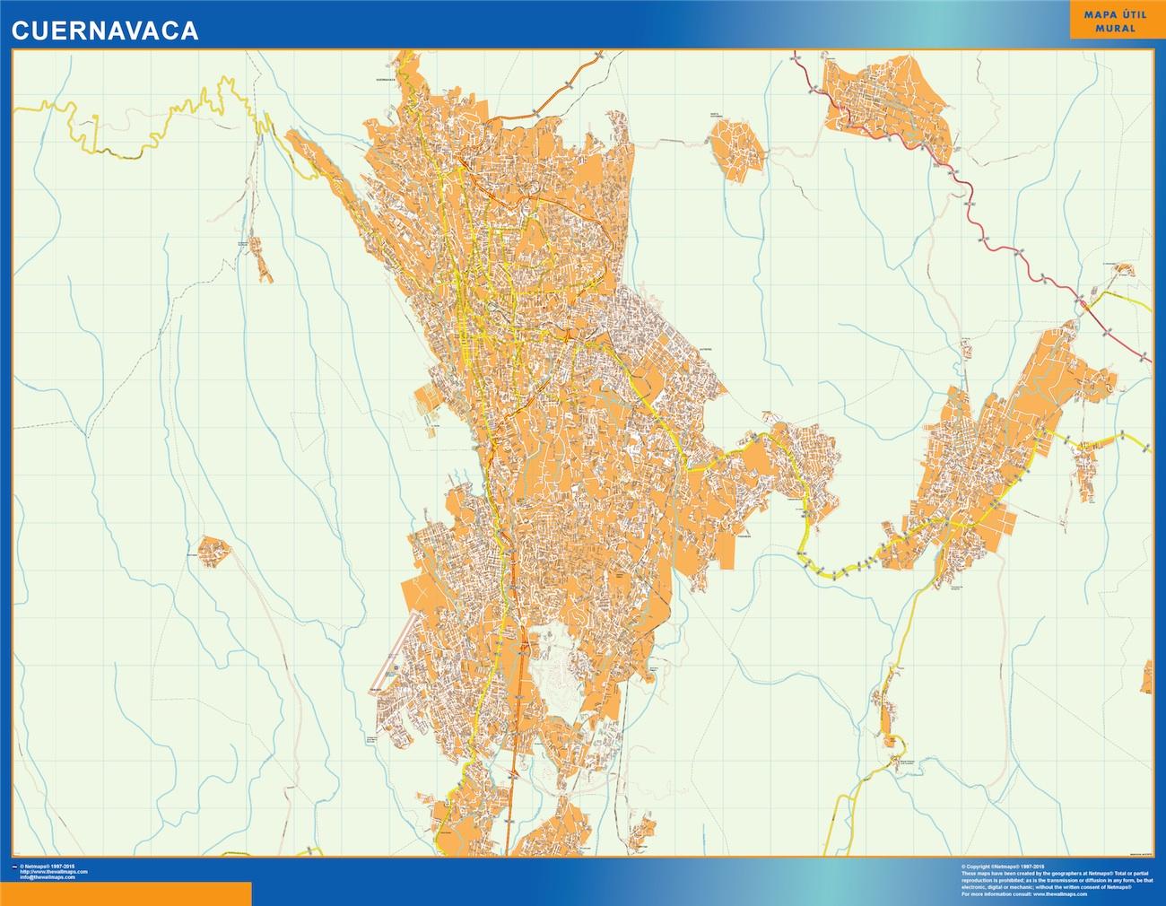 Mapa Cuernavaca en Mexico plastificado gigante