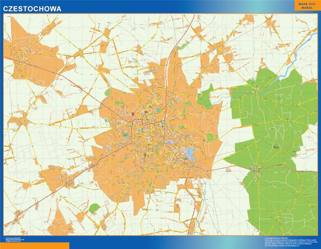 Mapa Czestochowa Polonia plastificado gigante