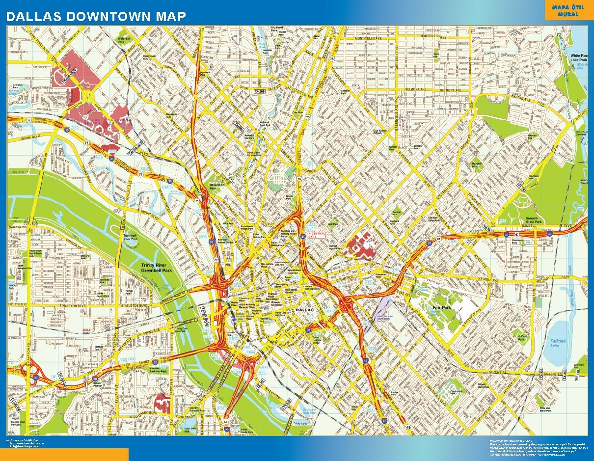 Mapa Dallas downtown plastificado gigante