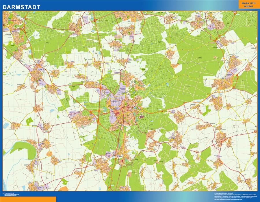 Mapa Darmstadt en Alemania plastificado gigante