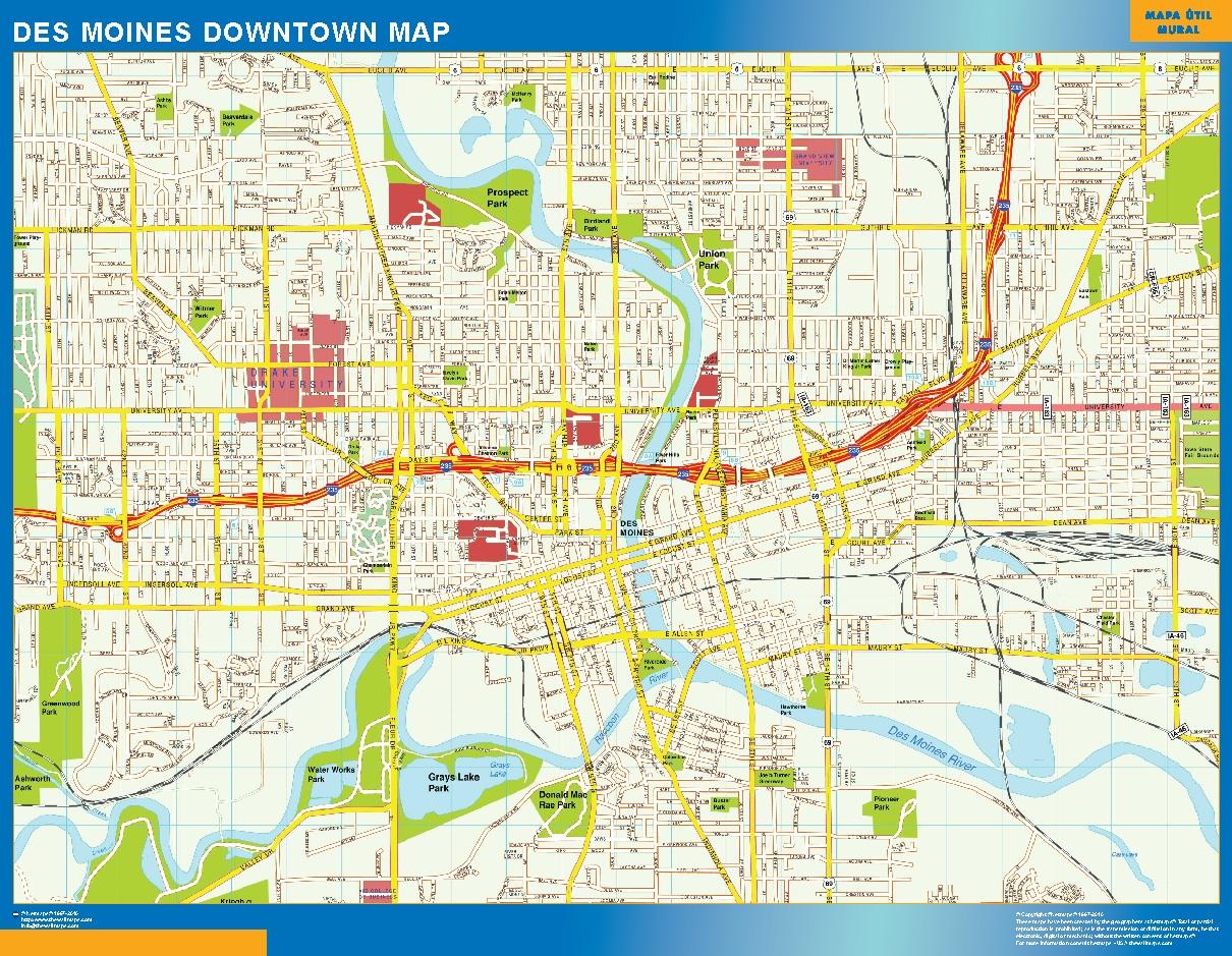 Mapa Des Moines downtown plastificado gigante