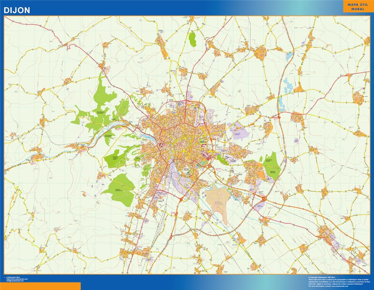 Mapa Dijon en Francia plastificado gigante