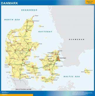 Mapa Dinamarca plastificado gigante