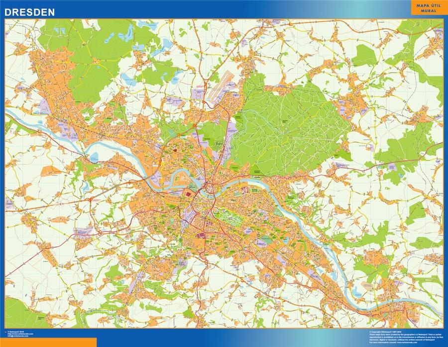 Mapa Dresden en Alemania plastificado gigante